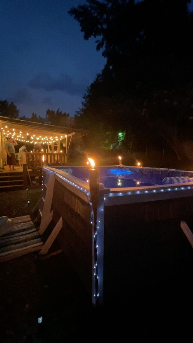 The 27-year-old spent £ 100 on a large yard pool.