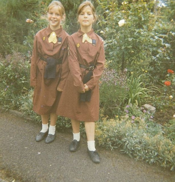 Sarah (left) and Becky (right) in their 1986 brownies uniforms.