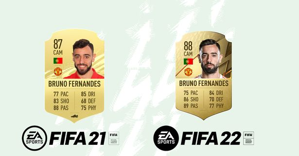 Bruno Fernandes' FIFA 22 rating compared to his FIFA 21 rating