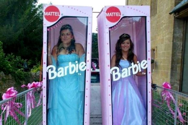 Teenagers Dress As Life-sized Barbies For Their Prom