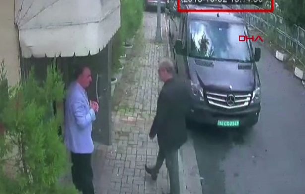Mr Khashoggi was caught on CCTV footage arriving at the Saudi consulate in Istanbul on October 2