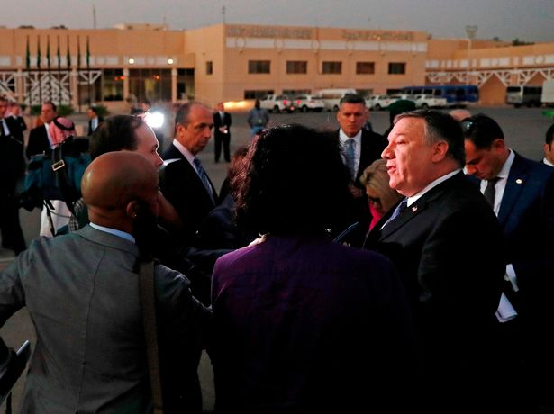 Mr Pompeo is pictured speaking to the media in Riyadh