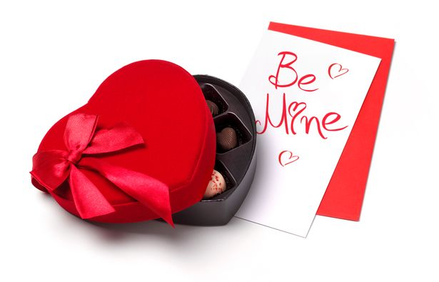 0 Valentine Days day surprise card and chocolates