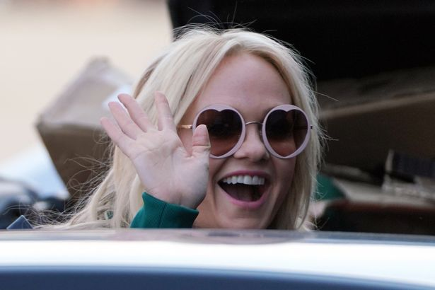 Emma Bunton donned heart-shaped sunglasses for the outing