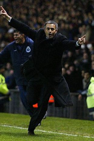Jose Mourinho's iconic celebration when his Porto side scored a last-minute goal at Old Trafford in 2004