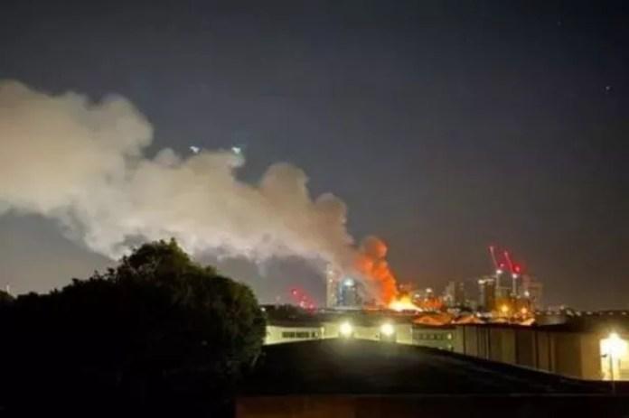 100 firefighters battling huge blaze at industrial laundry unit