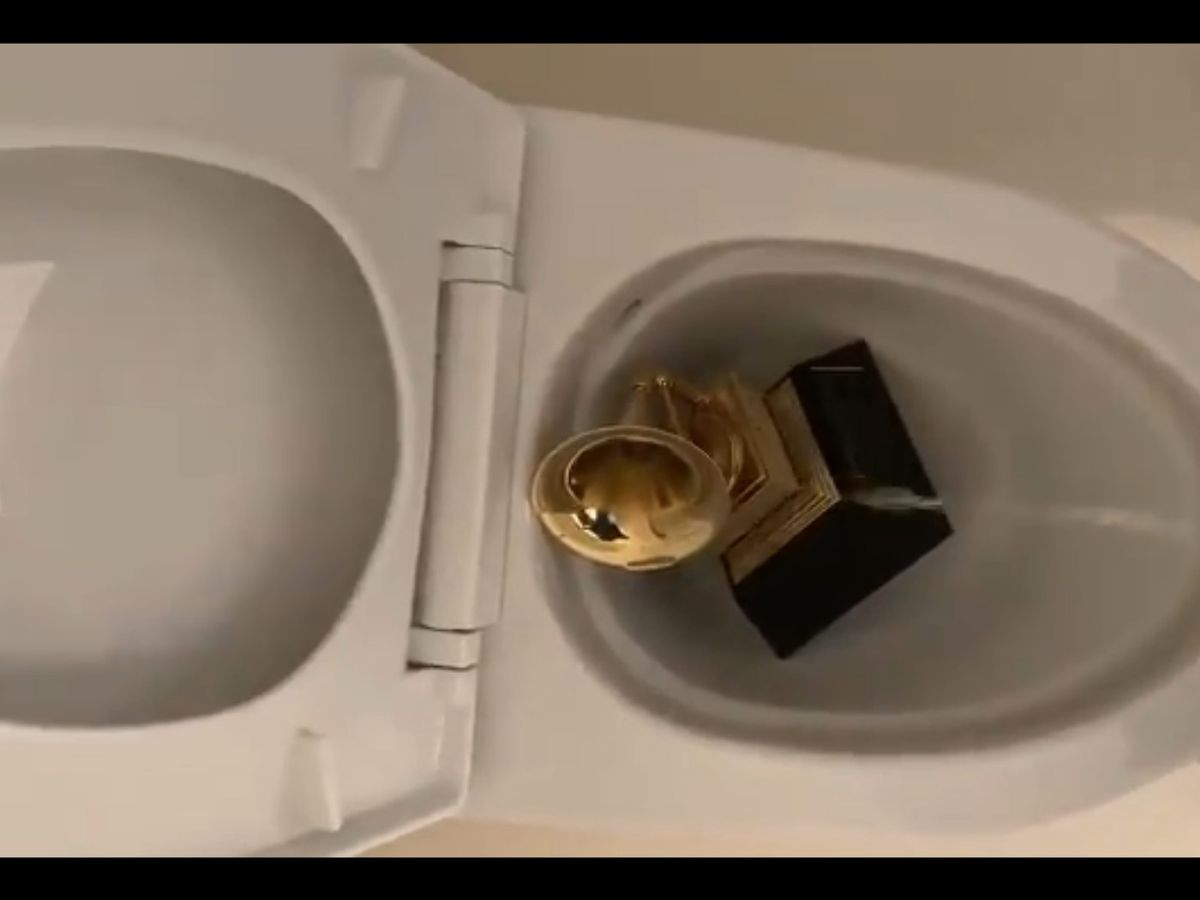Kanye West shares video of Grammy Award being urinated on