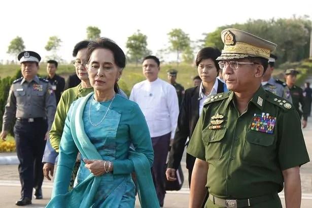 Senior General Min Aung Hlaing and Aung San Suu Kyi