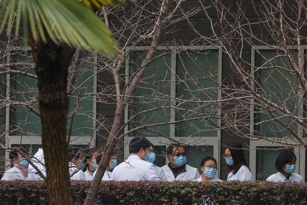 0 Chinese scientists and officials in lab coats wait at the Hubei Animal Epidemic Disease Prevention a