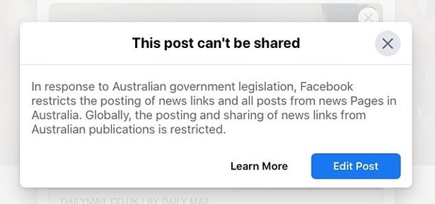 An error message warning users a post cannot be shared
