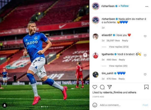 Roberto Firmino 'liked' Richarlison's picture of him celebrating Everton's win over Liverpool