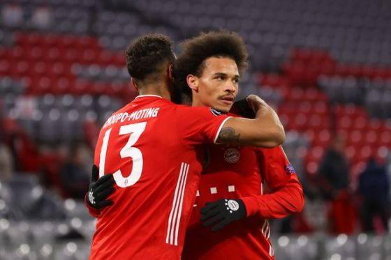 MUNICH, GERMANY - MARCH 17: Eric Maxim Choupo-Moting of FC Bayern Muenchen celebrates with team-mate Leroy Sane after scoring their team's second goal during a UEFA Champions League match 16 between Bayern Muenchen and SS Lazio at Allianz Arena on March 17, 2021 in Munich, Germany.  Sports pitches around Germany are still under strict restrictions due to Pandemic Coronavirus as Government social speed laws prohibit fans inside venues which means games are played behind closed doors .  (Photo by Alexander Hassenstein / Getty Images)