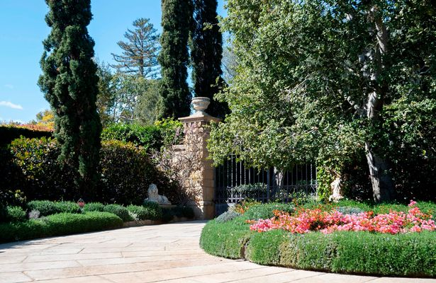 View of the gate of the Estate where Prince Harry and his wife US actress Meghan Markle have their house, in Montecito, California