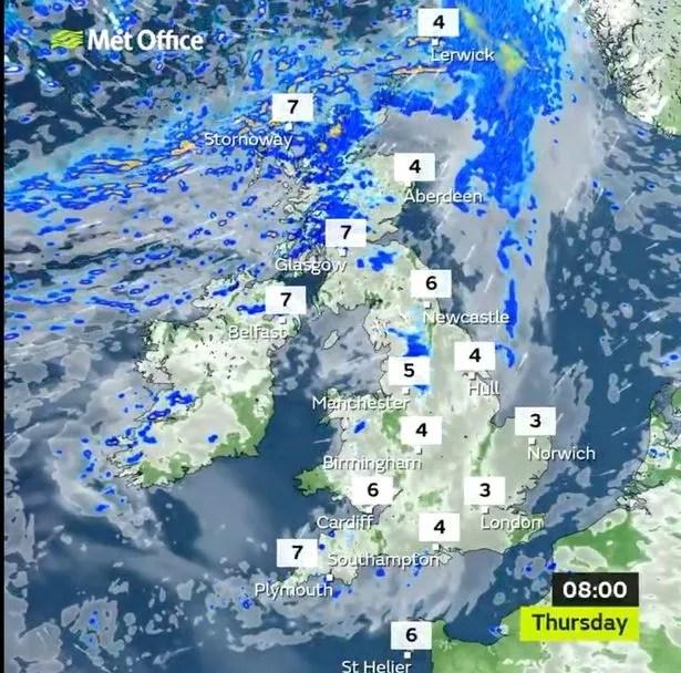 Weather forecast for Thursday morning for the UK