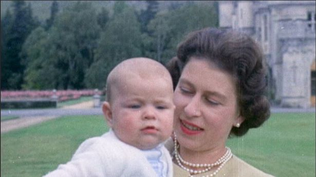 Queen with baby Prince Andrew at Balmoral in 1960