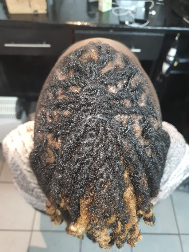 A client with locs which takes hours to treat