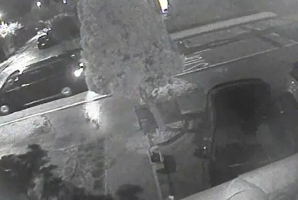CCTV video grab of a black Volkswagen van seen around the house