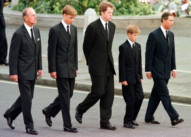 Philip, William, Earl Spencer, Prince Harry and Prince Charles walk behind Princess Diana's coffin outside Westminster Abbey