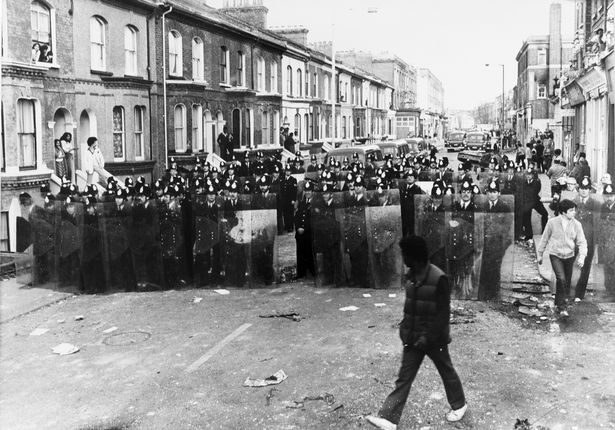 Police take action in the streets of Brixton during the Brixton riots