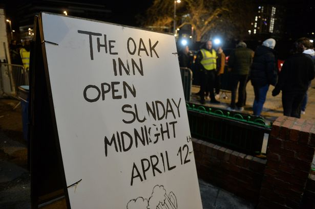 A sign at the Oak Inn in Coventry