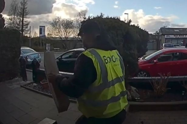 The clip shows the delivery driver realise too late that the van was being taken