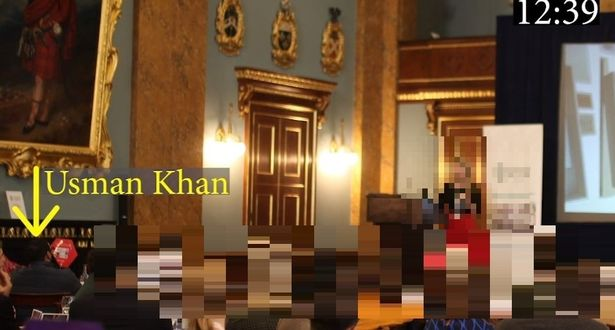 Khan was captured by CCTV sitting at a table about an hour and 20 minutes before his death