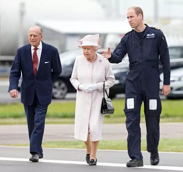 Prince William, Duke of Cambridge with his grandparents Queen Elizabeth II and Prince Philip