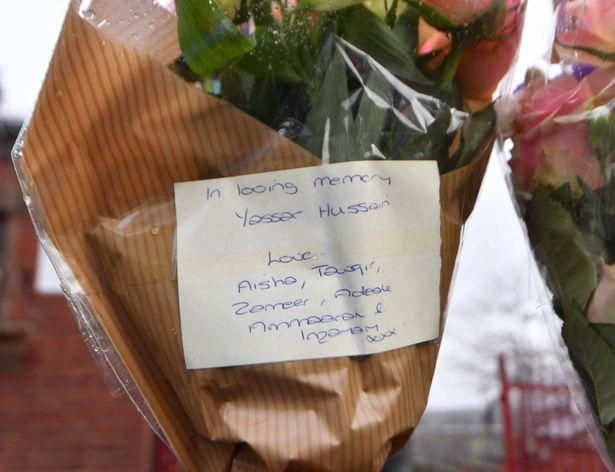 Floral tributes were left at the school gates