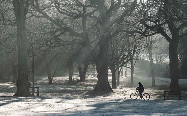 People exercising and spending time in a cold and frosty Cannon Hill Park