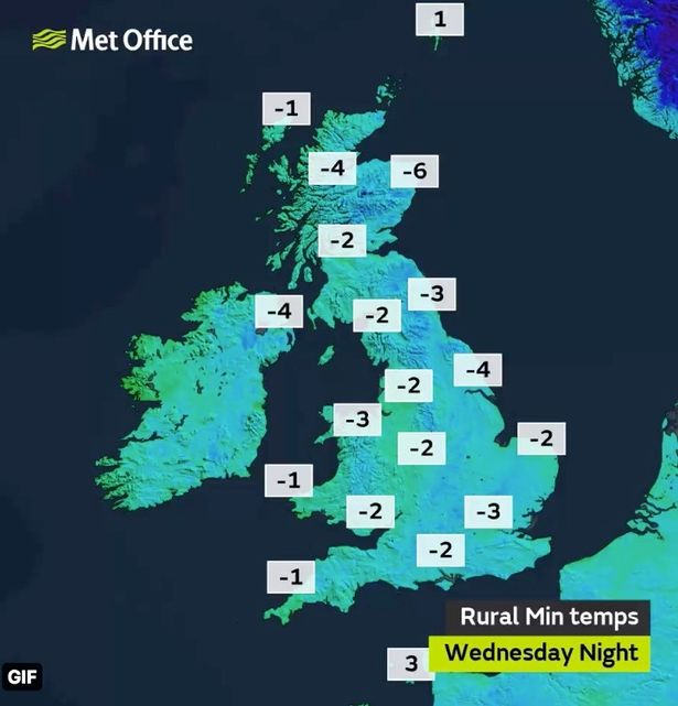 Weather map for the UK on Wednesday
