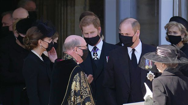 William and Harry leaving St George's Chapel after the funeral service