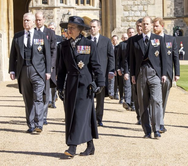 Princess Anne at the funeral of Prince Philip