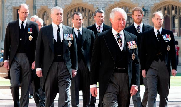 Male members of the Royal Family at Prince Philip's funeral