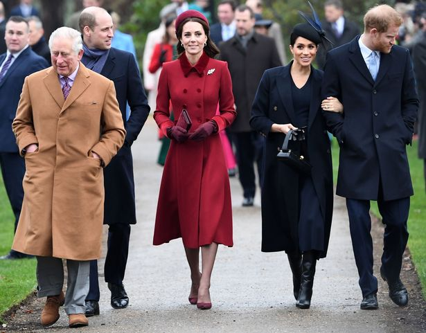 Princes Charles, William and Harry, with Meghan and Kate
