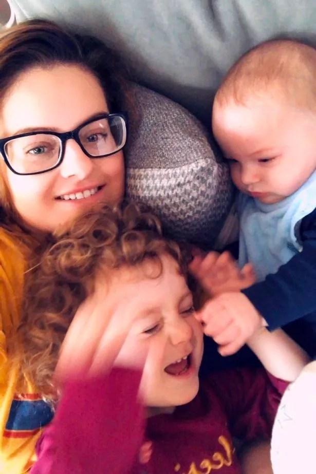 Lauren Briggs with her two children