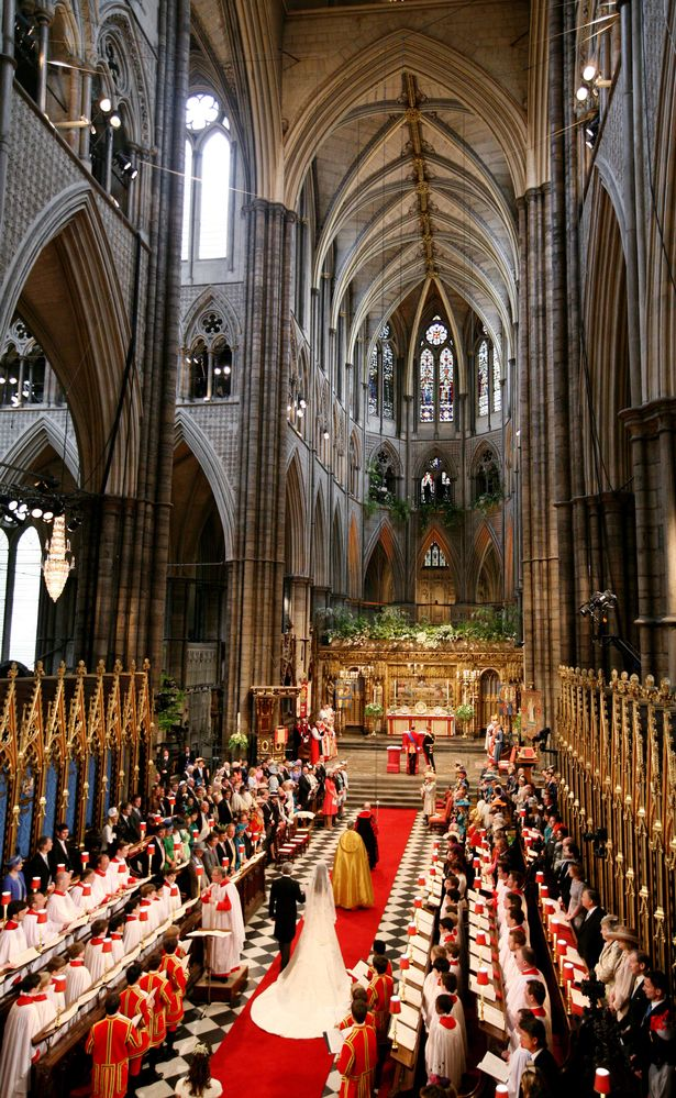 Catherine Middleton is led down the aisle by her father Michael Middleton at Westminster Abbey on April 29, 2011