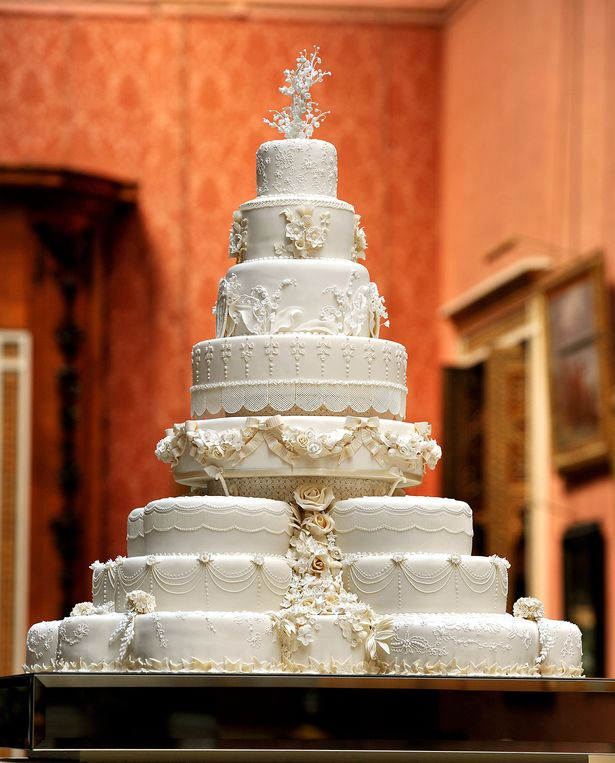 The eight-tiered wedding cake at William and Kate's reception