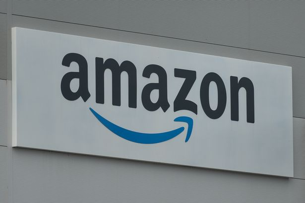 Amazon logo at the Amazon delivery centre in Channel Commercial Park in Belfast