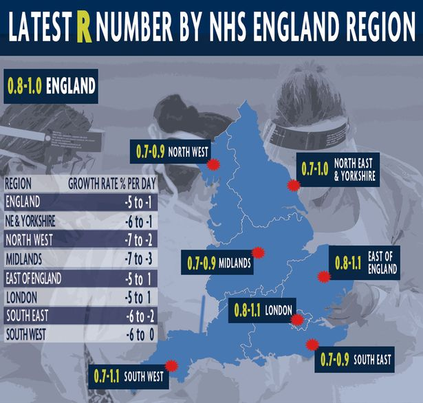 The R rate could be above 1 in some parts of England, experts estimate