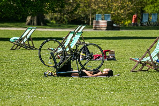 Sunbathers have been grabbing the opportunity to step outside as the mercury climbed to 17C on Friday