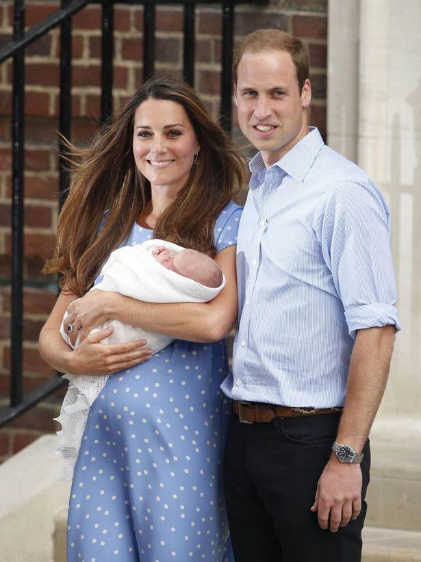 The Duke and Duchess leaving St Mary's Hospital with their first son Prince George in 2013