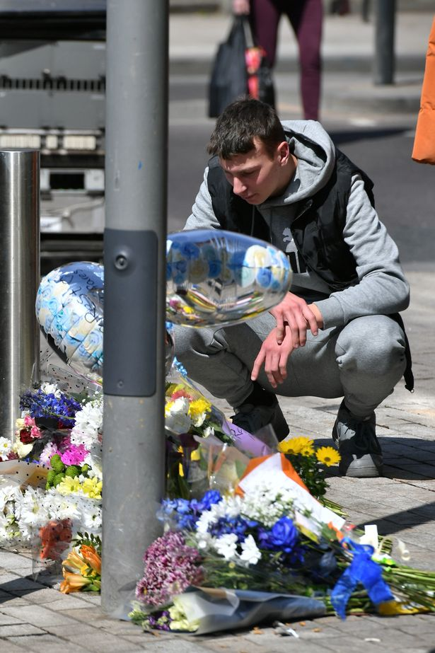 Tearful friends left flowers at the scene of Fares' death