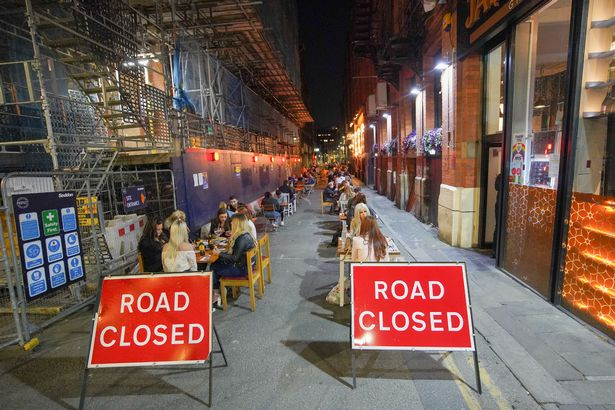One street in Manchester has been closed to protect punters sat at tables