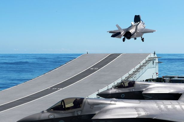 F-35B Lightning Jets taking off from HMS Queen Elizabeth for the first Carrier Sea Training