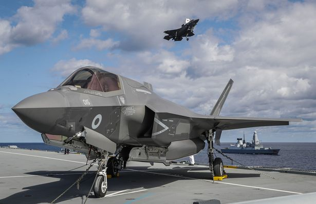 A UK F-35 Lightning jet pictured on HMS Queen Elizabeth for the first time in 2019