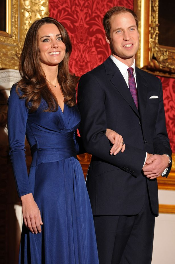 Posing for photographers during a photocall to mark their engagement, in the State Rooms of St James's Palace, central London on November 16, 2010