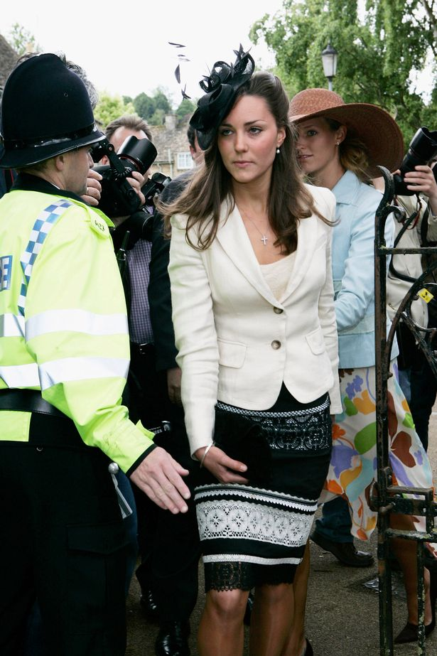 Kate at the society wedding of Hugh Van Cutsem Junior to Rose Astor at Burford Parish Church in 2005