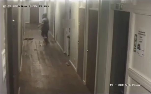 Footage showed her trying various doors before heading towards the victim's flat