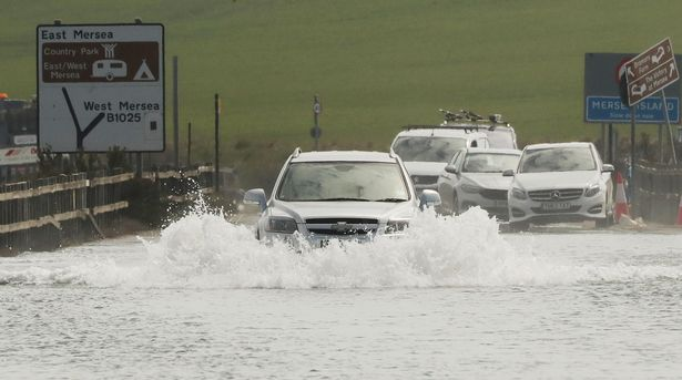 High tides caused The Strood, Mersea Island, to flood on Tuesday