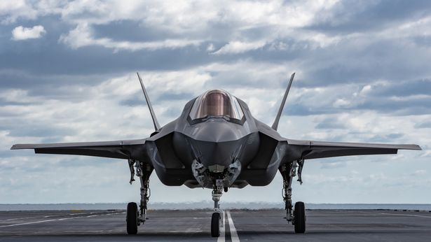 Pictures released by the MOD show UK F-35 Lightning jets landing, taking off and hovering onboard Britain's next generation aircraft carrier, HMS Queen Elizabeth for the first time.